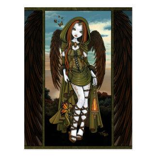 Cartão do anjo da lanterna do dragão do por do sol