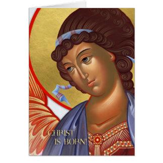 Cartão do anjo do Natal com cena da natividade