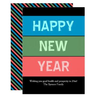 Cartão do ano novo da tipografia de Colorblock Convite 12.7 X 17.78cm