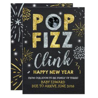 Cartão do ano novo do anúncio da gravidez do ano