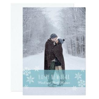 Cartão do ano novo dos flocos de neve (AZUL)