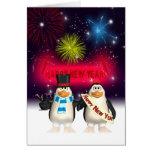 Cartão do ano novo - pinguins do feliz ano novo