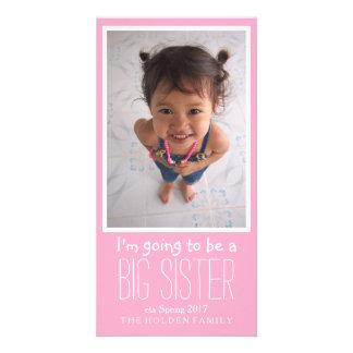 Cartão do anúncio da chegada do bebê da irmã mais cartão com foto