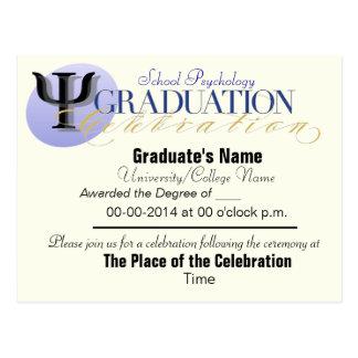 Cartão do anúncio da graduação da psicologia da cartão postal
