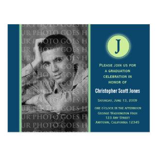 Cartão do anúncio da graduação do monograma cartão postal
