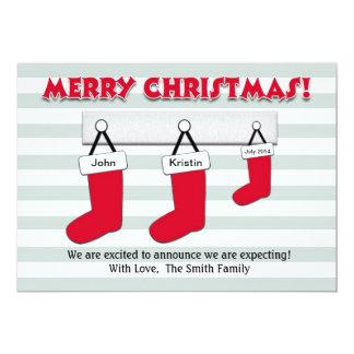 Cartão do anúncio da gravidez do Natal - meias Convite 12.7 X 17.78cm