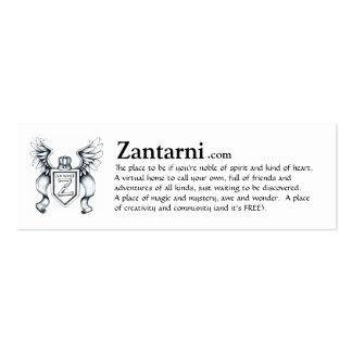 Cartão do anúncio de Zantarni (blk/wh) Cartão De Visita Skinny