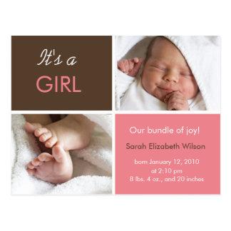 Cartão do anúncio do bebé
