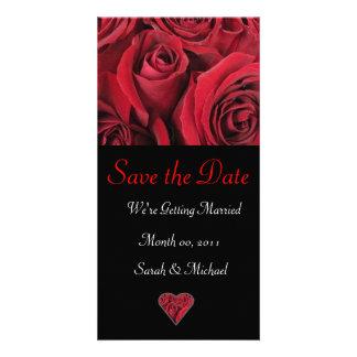 Cartão do anúncio do casamento da rosa vermelha cartão com foto