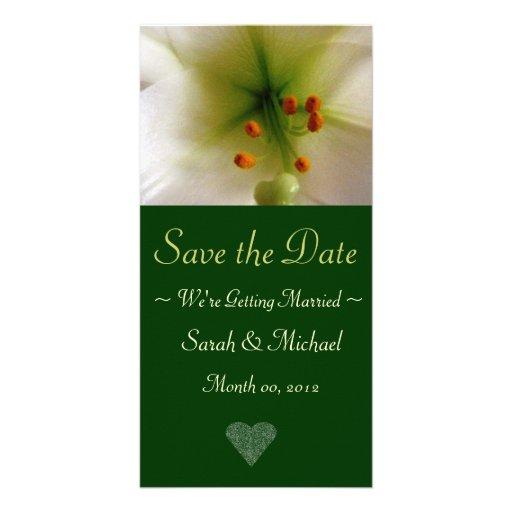 Cartão do anúncio do casamento do lírio branco cartão com fotos
