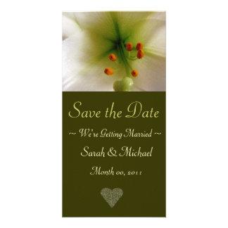 Cartão do anúncio do casamento do lírio cartão com foto