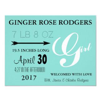 Cartão do anúncio do nascimento da menina do BEBÊ
