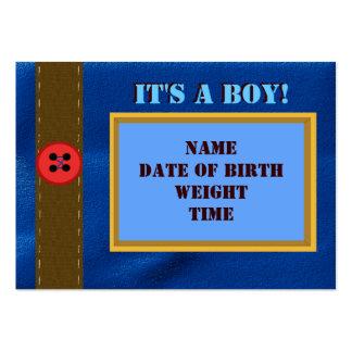 Cartão do anúncio do nascimento da sarja de Nimes Cartão De Visita Grande