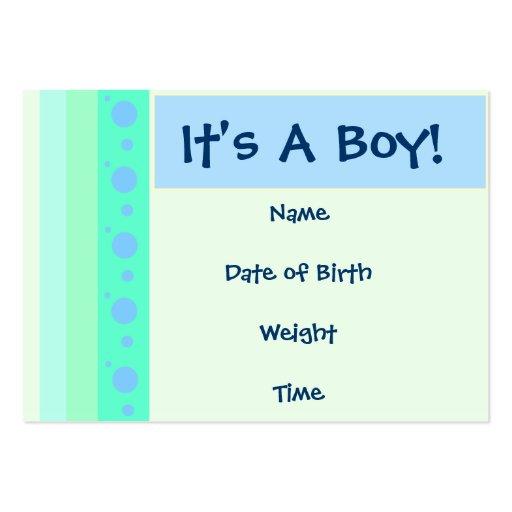 Cartão do anúncio do nascimento do bebé cartoes de visita