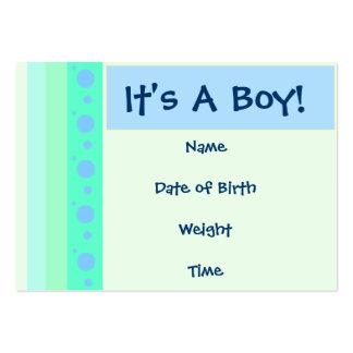 Cartão do anúncio do nascimento do bebé cartão de visita grande