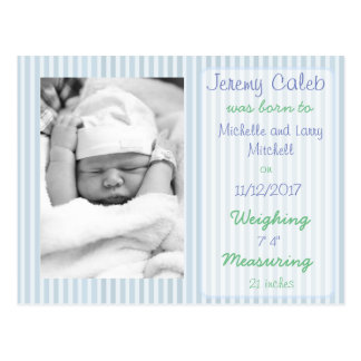 Cartão do anúncio do nascimento do menino azul