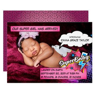 Cartão do anúncio do nascimento do super-herói,