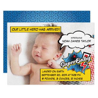 Cartão do anúncio do nascimento do super-herói, convite 12.7 x 17.78cm