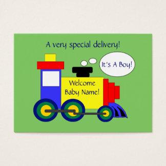 Cartão do anúncio do nascimento do trem