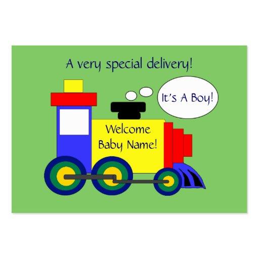 Cartão do anúncio do nascimento do trem cartões de visita