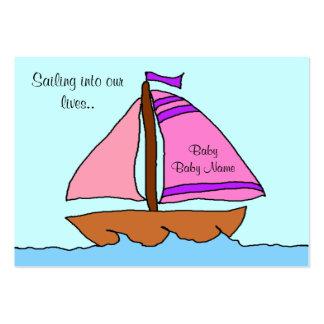 Cartão do anúncio do nascimento do veleiro cartão de visita grande