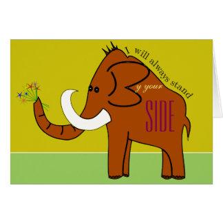Cartão do apoio com um Mammoth bonito