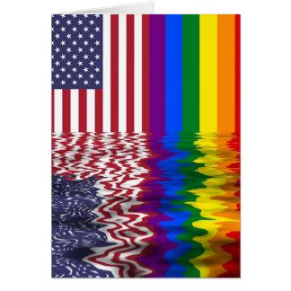 Cartão do apoio da bandeira americana LGBT do