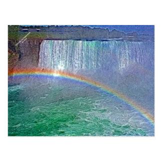 Cartão do arco-íris das cachoeiras de Niagara Cartão Postal