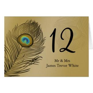 cartão do assento da mesa do casamento do pavão do