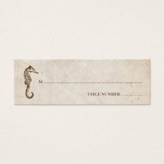 Cartão do assento do cavalo marinho do vintage