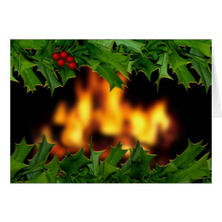 Cartão do azevinho e de Natal da lareira