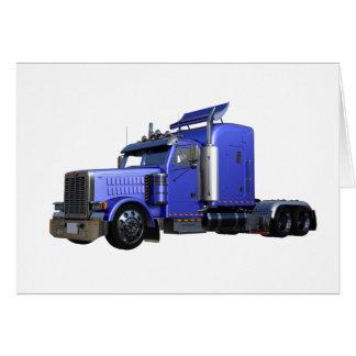 Cartão Do azul caminhão metálico semi na opinião dos três