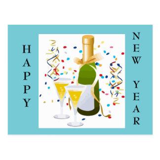 Cartão do azul dos confetes do champanhe do feliz