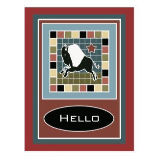 Cartão do azulejo do búfalo do mosaico