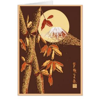 Cartão do bambu & do Monte Fuji