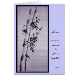 Cartão do bambu dos namorados