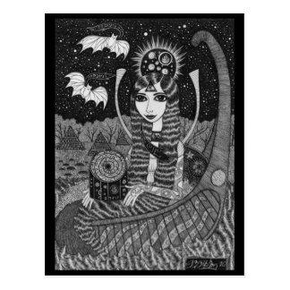 Cartão do barco do outono cartão postal