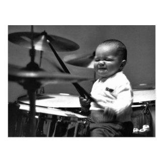 Cartão do baterista do bebê