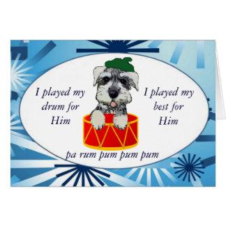 Cartão do baterista do filhote de cachorro do