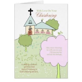 cartão do batismo com pouca cena da igreja