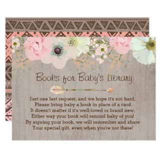 Cartão Do bebê rústico da pena de Boho inserção floral da