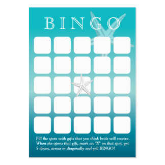 Cartão do Bingo do chá de panela da estrela do mar Cartão De Visita Grande