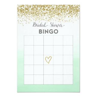 Cartão do Bingo do chá de panela da hortelã e do Convite 12.7 X 17.78cm