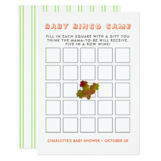 Cartão Do Bingo rústico do bebê da queda do outono das