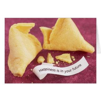 Cartão do biscoito de fortuna da felicidade