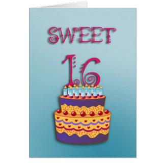 Cartão do bolo de aniversário do doce 16