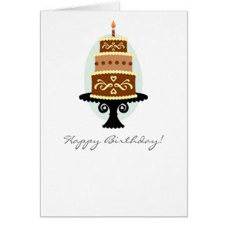 Cartão do bolo de chocolate do feliz aniversario