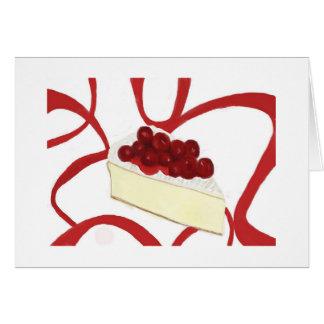 Cartão do bolo de queijo da cereja