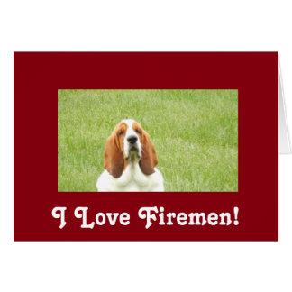 Cartão do bombeiro de Basset Hound