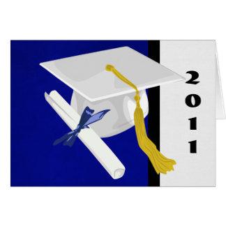 Cartão do boné de formatura e do diploma